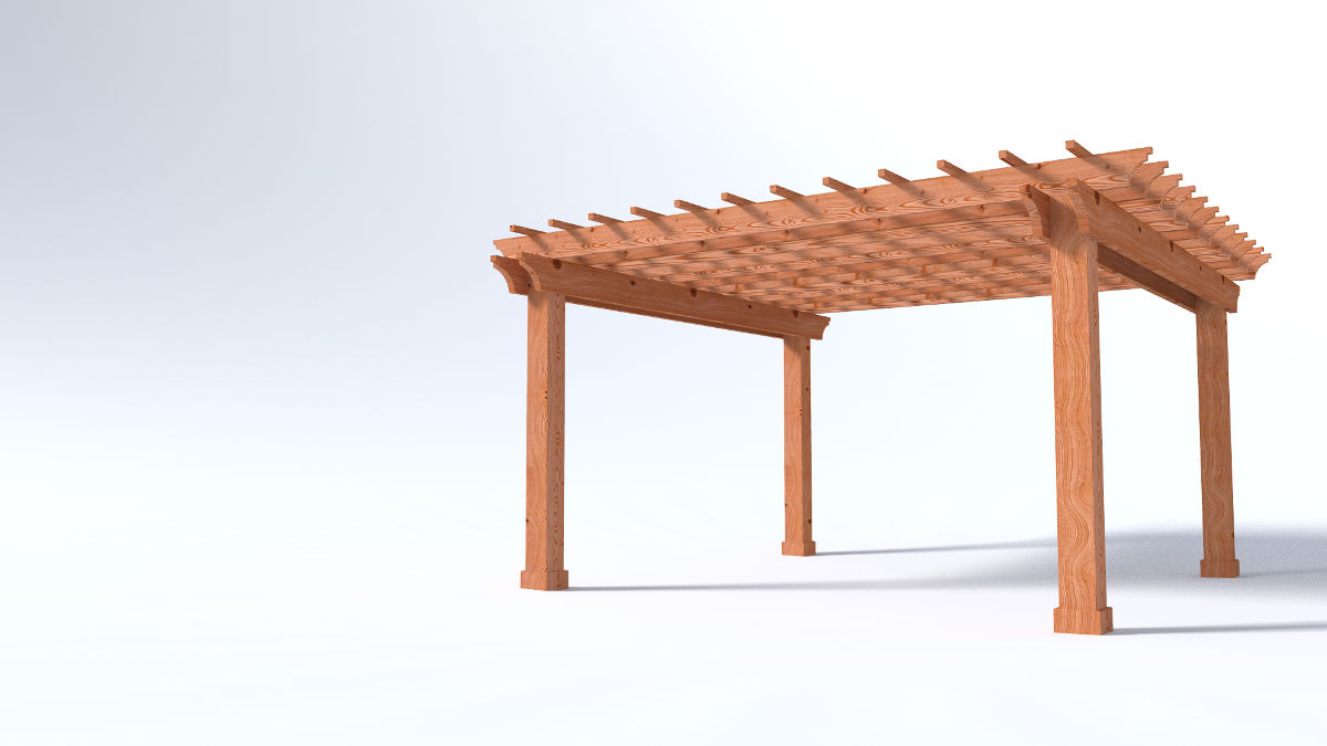 16x16 Garden Pergola - 2x Beams